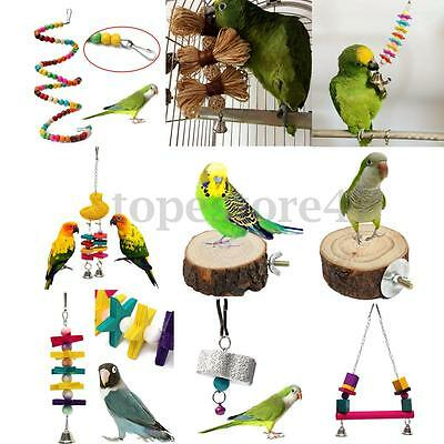 Swing Bird Toy Parrot Rope Harness Cage Parakeet Cockatiel Budgie Xmas Gift