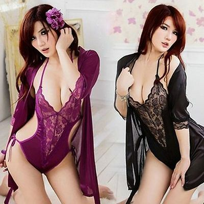 Nightgown Sexy Lingerie Satin Lace Intimates Robe With Belt Set Sleepwear