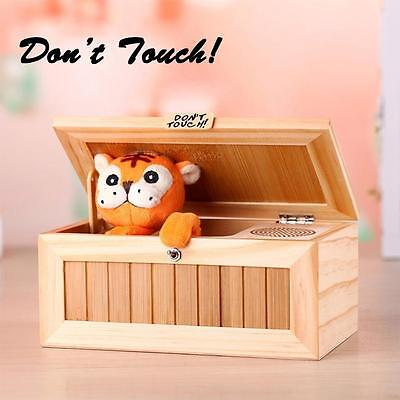 Unique Lovely Wooden Useless Box Leave Me Alone Don't Touch Tiger Gift Toys HY