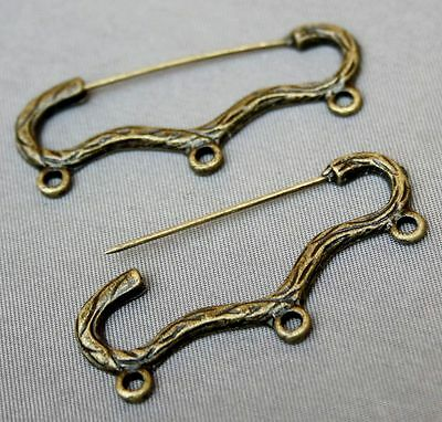 6 pcs - Vintage bronze safety pin brooch finding