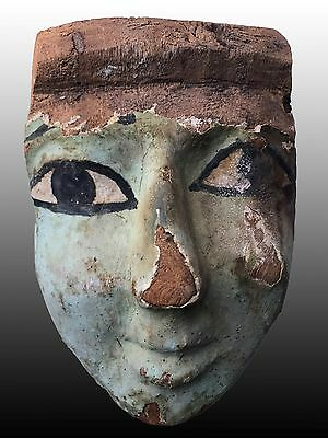 Egyptian Wooden Mummy Mask Greenish Color