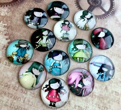 10 pcs -  25mm Glass Round Cabochon Mix with Girls Dolls cabochons