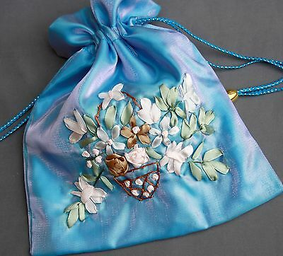 2 pcs - Big satin pouch gift bag BLUE embroidered flower pattern