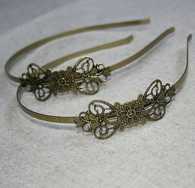 Antique Bronze Headband Hair Band  with large filigree - 4 pcs