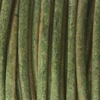 1meter of 5mm thick round indian leather - natural dye DARK GREEN