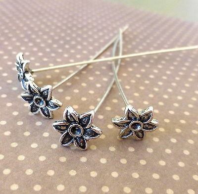 30 pcs antique silver decorative head pin with flower, floral pin
