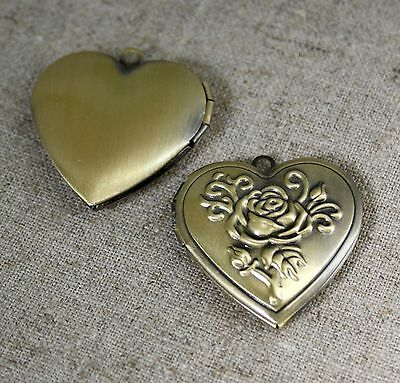 Antique Bronze Brass Locket Pendant Heart - 2 pcs