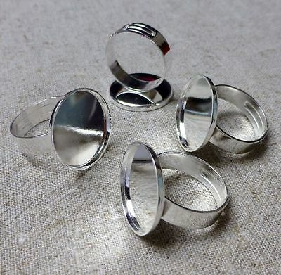 pack of 5 - Silver tone Ring Blanks Ring Component Smooth 18 mm Setting Base
