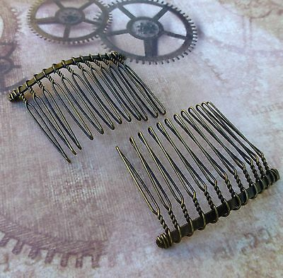 10 pcs BRONZE  Hair Combs Small 37x49mm hair accessories millinery findings