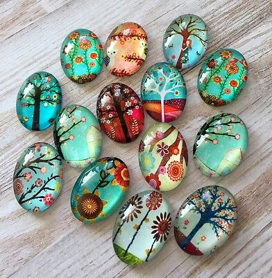 10 pcs  Glass Domed Oval Cabochons mix floral, tree pattern, size 25x18mm