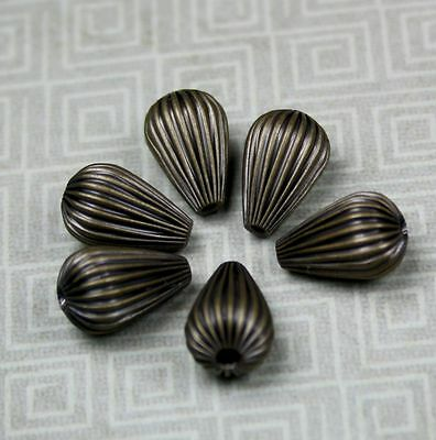 Antique Bronze Brass Corrugated Pear Beads - pack of 20
