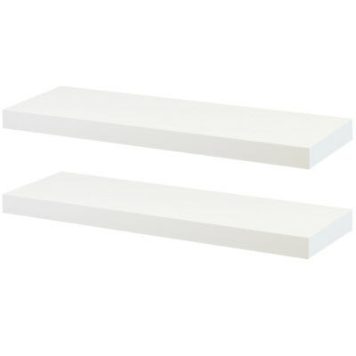 Hartleys Set Of 2 White Rectangular Wooden Floating Wall Shelves 60Cm Wood Shelf