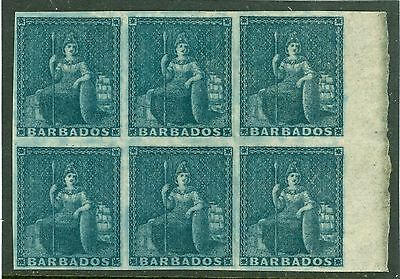 SG 5a Barbados 1d slate blue. A very fresh mounted mint marginal block of 6...