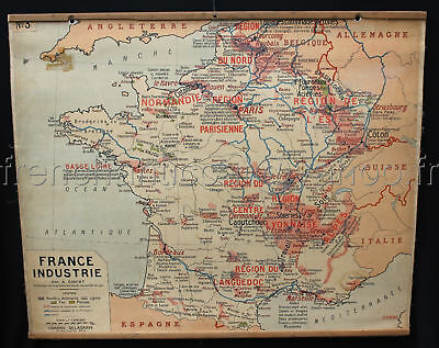 B578 French Antique School Map FRANCE PARIS wine champagne bordeaux truffle