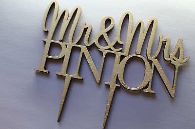 CakeTopper Mr & Mrs Custom Personalised Wedding  Wood With Surname Anniversary