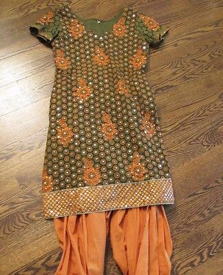 Indian Pakistani Bollywood Cotton Sequence Salwar Dress And Matching Pants
