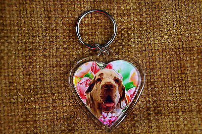 Clumber Spaniel Gift Keyring Dog Key Ring heart shaped gift Valentine