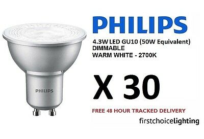 30 x Philips 4.3W (50W) Low Energy DIMMABLE GU10 LED Spot Lamps Bulbs Warm White