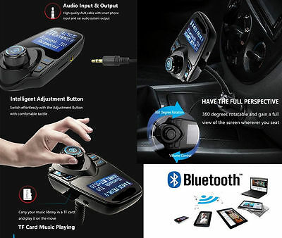 Bluetooth Car Kit Wireless FM Transmitter USB Charger 2.1A Audio MP3 Player- T10
