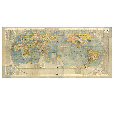 Antique Geography World Map Japanese Vintage Poster Art Wall Decor Gift P07