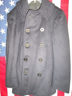 WWII U.S.Navy Issued 10 Button Pea Coat-Chest-28