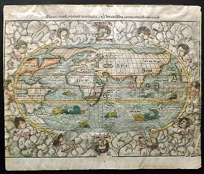 Munster C1570 Hand Coloured Map of the World