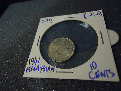 1941 Malaya Malaysian 10 Cent Coin in Sealed Case Holder ten cents Silver George