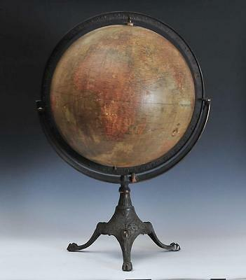 "Large Early 20Th C. 18"" Hammond Terrestrial Globe On Cast Iron Stand - 32"" Tall"