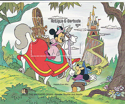 DISNEY Spindle Shuttle & Needle Antigua souvenir stamp sheet MNH