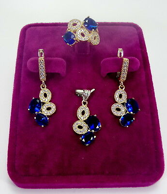 Turkish Made Jewelry 925 Sterling Silver / Sapphire Stones Lady Sets Ring Sz 6.5