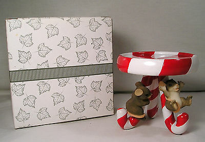 """RARE"""" Charming Tails Mouse Candle Holder, 2 Mice Candy Cane Pillar Candleholder"""