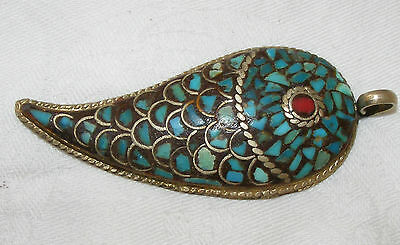 Vintage Antique Tibetan Fish Shaped Pendant Turquoise And Coral Silver Plate