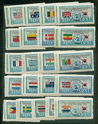1951 - 1952 Korea Scott # 132 - 173 Used 500 Won Flags Complete Stamps #84397 X