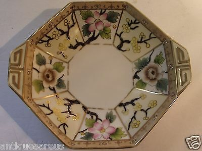 Antique Nippon Octagonal 2 Handled Bowl Heavy Gold With Flowers