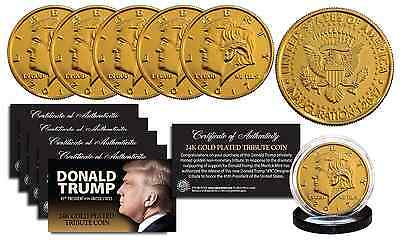 2017 DONALD TRUMP Dated OFFICIAL Inauguration 24K Gold Plated Tribute Coins (5)