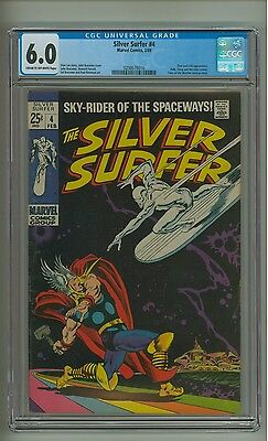 Silver Surfer #4 (CGC 6.0) C-O/W pgs; Lower distribution; Thor & Loki (c#12547)