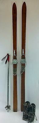 Antique vintage, WOOD SKIS, Wall mount,  Ski package with skis, poles, and boots
