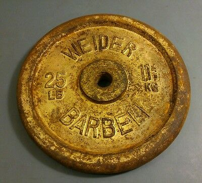 """25 LBS Weider Barbell Weight Plate 1"""" hole Iron Dumbbell (25 pound Weight Plate)"""