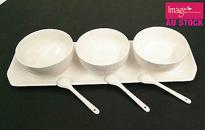 Set of 3 Dip Bowls Dishes Sauce w Spoon Party Supplies Cafe Event Dipping LC0099