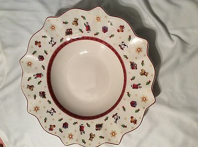 "Villeroy & Boch Toy's Delight China10 1/2"" Rimmed Soup Bowl/Red Trim"