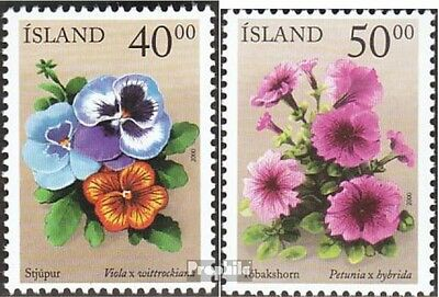 Iceland 958-959 mint never hinged mnh 2000 summer flowers