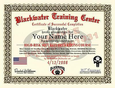 BLACKWATER Certificate Prop HIGH RISK SECURITY OPERATIONS COURSE ****Custom****