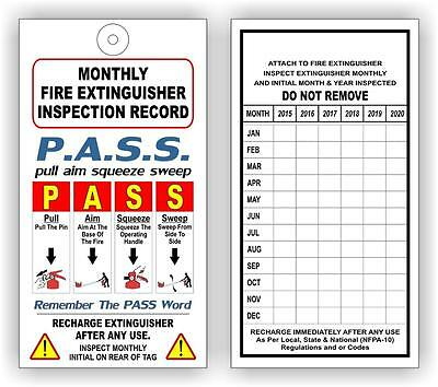 (12) Fire Extinguisher Monthly Inspection Tags (6 Years) Nfpa - Osha - Safety