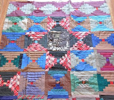 1876 Dated Log Cabin Vintage Antique Partial Quilt Top: With Provenance Note!