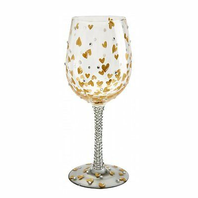 Lolita Wine Glass - Heart Of Gold New Boxed