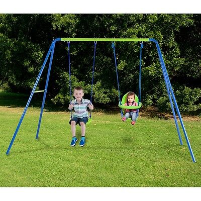 Action 2-unit Kid's Toddler Outdoor backyard Swing set with Bonus seat strong