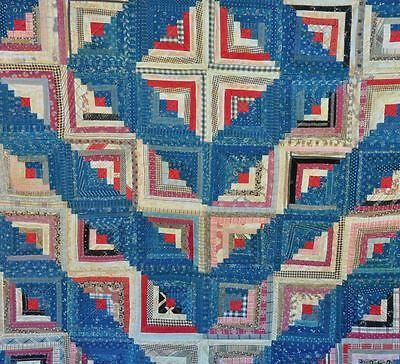 1880-1910 Country-Style  Indigo Barnraising Log Cabin Antique Vintage Quilt