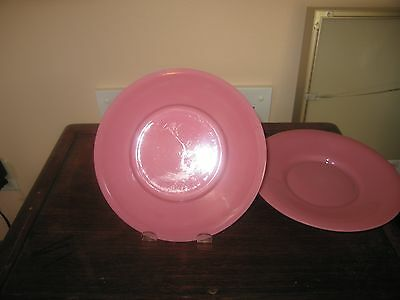 Nice Pair of Chinese Peking Glass plates Perfect and old Nice pink color
