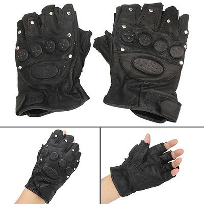 Motorcycle Bike Military Tactical Riding Half Finger PU Leather Gloves Mittens