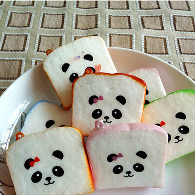 2 X Cute Panda New Squishy Buns Bread Charms Squishies Cell Phone Straps 6cm HK